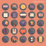 25 set Basic Flat design, Contains such Icons as Workplace, business and office equipment items, Reception Desk and more. Isolated on Orange background, part 2 stock illustration