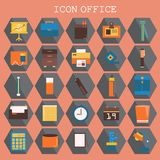25 set Basic Flat design, Contains such Icons as Workplace, business and office equipment items, Reception Desk and more royalty free illustration