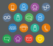 Set of basic flat design outline icons Stock Image