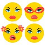 Set of basic girl emoticons in flat design Stock Images