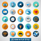 Set of basic icons in flat design Royalty Free Stock Photos