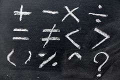 Set of basic math symbol draw by white chalk on blackboard background royalty free stock images