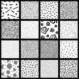 Set of basic memphis style patterns. 16 basic 80`s and 90`s style seamless patterns in the memphis style. Graphics are grouped and in several layers for easy Stock Photo