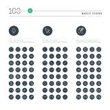 Set of basic thin line web icons Stock Image