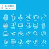 Set of basic thin lines web icons Royalty Free Stock Photography