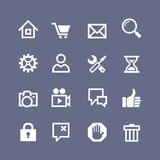 Set 16 basic web icons. Set 16 basic icons for website and touch screen Royalty Free Stock Photography