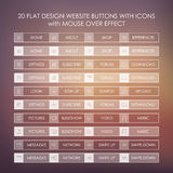 Set of 20 basic website icons in modern flat design and ghost buttons. Royalty Free Stock Photo