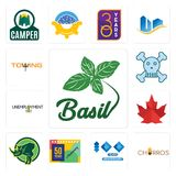 Set of basil, churros, 100 year anniversary, 50 years rhino, canada leaf, unemployment, skull and crossbones, towing icons. Set Of 13 simple  icons such as basil Stock Photography