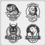 Set of basketball badges, labels and design elements. Sport club emblems with pitbull, owl, bobcat and polar bear. Print design fo. R t-shirts. Vector royalty free illustration