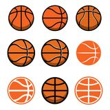 Set of basketball balls isolated on white background. Design element for poster, logo, label, emblem, sign, t shirt. Stock Image