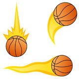 Set of basketball in different flame styles Royalty Free Stock Photos