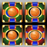 Set  with basketball  emblem Royalty Free Stock Photo