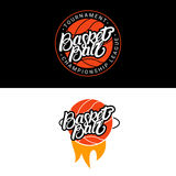 Set of Basketball hand written lettering logo, emblem, label, badge. Stock Image