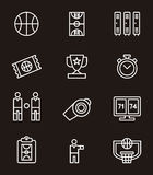Set of basketball icons or symbols Royalty Free Stock Photos