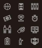 Set of basketball icons or symbols Royalty Free Stock Photos