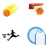 Set of basketball illustrations Stock Images