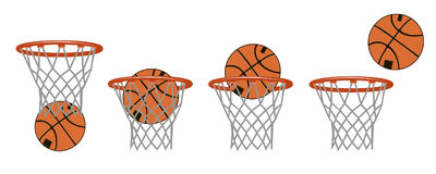 Set basketball images. Stages of hitting the ball in the basket. Stock Photo