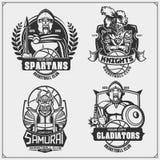 Set of basketball labels, emblems, badges with ancient warriors. Print design for t-shirt. Vector stock illustration