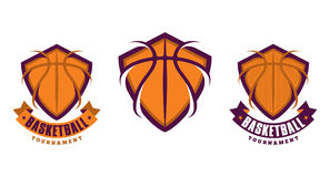 Set of basketball sport icons. Logotypes or emblems stock illustration