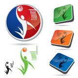 Set of basketball symbols Royalty Free Stock Photography