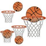 Set Basketballikonen Der Ball fliegt in den Korb, der bal Stockfotografie