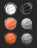 Set of basketballs on a gray background. Vector Stock Photo