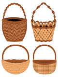 Set of Baskets. Set of different empty baskets on white background Stock Images