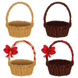 Set of Baskets. Set of different empty baskets on white background Royalty Free Stock Photography