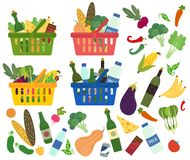 Set of baskets full of organic food and content. Set of shopping baskets full of organic and healthy food. Content of baskets. Groceries products. Grocery store Royalty Free Stock Photos