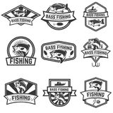 Set of bass fishing emblem templates on white backgroun royalty free illustration