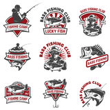 Set of bass fishing emblem templates on white backgroun. D. Design elements for logo, label, sign. Vector illustration royalty free illustration
