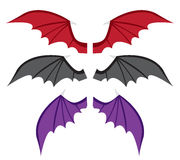 Set Bat wings in color in flat style Royalty Free Stock Image