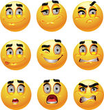 Set of batch from 9 emotion smiles Stock Image