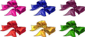 Set of batch bow of wariated color royalty free stock photo