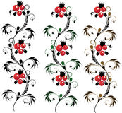 Set of batch delicate ornament Flower. royalty free stock image