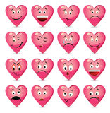 Set of batch from 16 emotion smiles Stock Photos