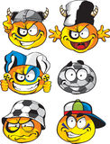 Set of batch football round smiles Stock Image