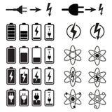 Set bateryjnego ładunku równi wskaźniki na bielu Obrazy Stock