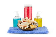Set of bath accessories with seashells Stock Photography