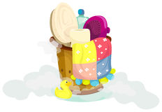 Set for a bath in wooden bucket Royalty Free Stock Photo