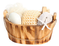 Set of bathing items. Isolated. Set of bathing items on the white phone Stock Images