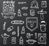 Set of bathroom equipment on black chalkboard Royalty Free Stock Photo