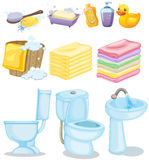 Set of bathroom equipments Royalty Free Stock Photos