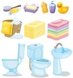 Set of bathroom equipments Royalty Free Stock Photos