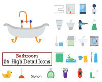 Set of 24 Bathroom Icons Stock Photography