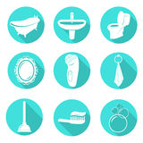 Set of bathroom icons Stock Image