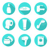 Set of bathroom icons Royalty Free Stock Photo