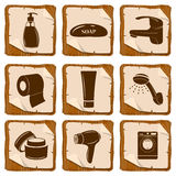 Set of bathroom icons Royalty Free Stock Images