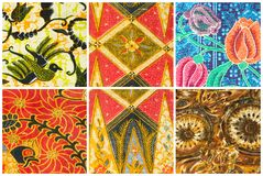 Set of batik sarong pattern background , traditional batik sarong Royalty Free Stock Image