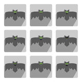 Set of bats, decorative icons for Halloween Royalty Free Stock Photos